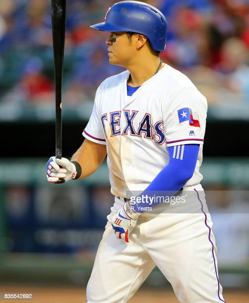 ShinSoo Choo of the Texas Rangers hits in the fourth inning against the Seattle Mariners at Globe Life Park in Arlington on July 31 2017 in Arlington...