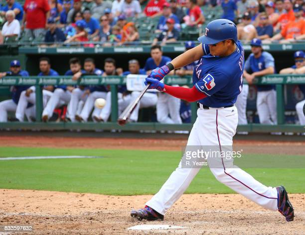 ShinSoo Choo of the Texas Rangers hits in the ninth inning against the Houston Astros at Globe Life Park in Arlington on August 13 2017 in Arlington...