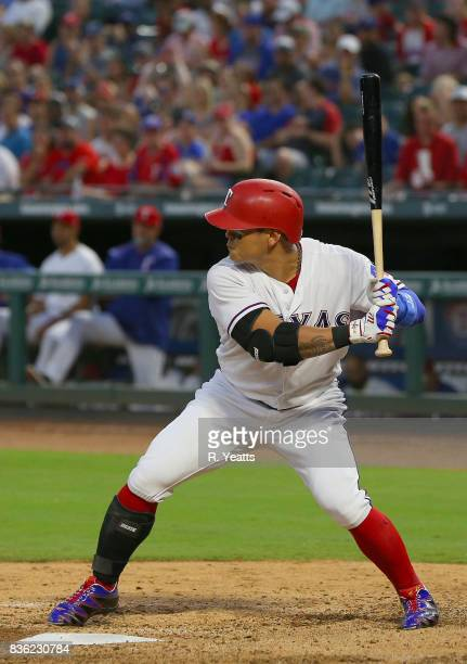 ShinSoo Choo of the Texas Rangers hits in the third inning against the Chicago White Sox at Globe Life Park in Arlington on August 19 2017 in...