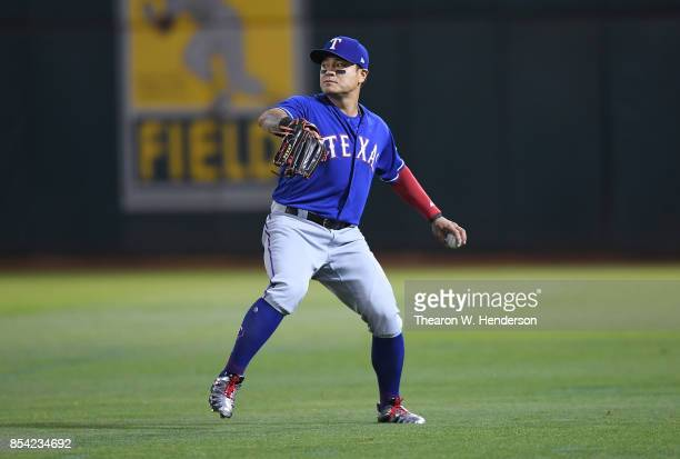 ShinSoo Choo of the Texas Rangers in action against the Oakland Athletics in the bottom of the six inning at Oakland Alameda Coliseum on September 22...