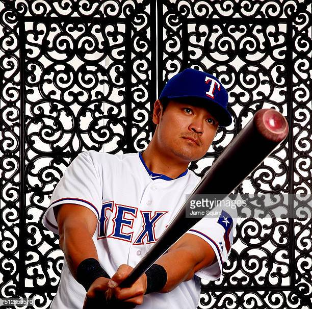 ShinSoo Choo of the Texas Rangers poses during a spring training photo shoot on February 28 2016 in Surprise Arizona