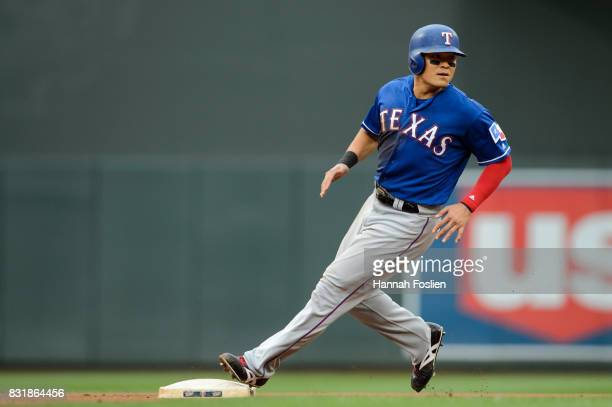 ShinSoo Choo of the Texas Rangers runs the bases against the Minnesota Twins during the game on August 6 2017 at Target Field in Minneapolis...