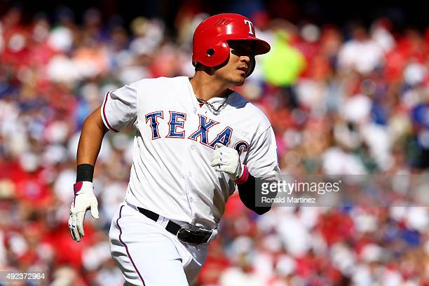 ShinSoo Choo of the Texas Rangers singles in the first inning against the Toronto Blue Jays in game four of the American League Division Series at...