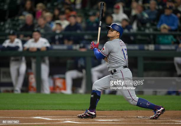 ShinSoo Choo of the Texas Rangers takes a swing during an atbat in a game against the Seattle Mariners at Safeco Field on September 19 2017 in...