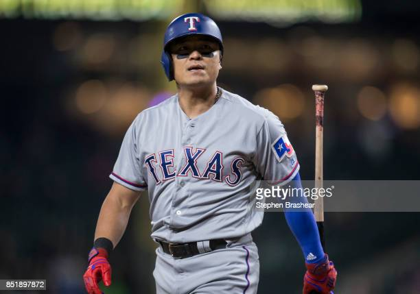 ShinSoo Choo of the Texas Rangers walks off the field after an atbat during a game against the Seattle Mariners at Safeco Field on September 19 2017...