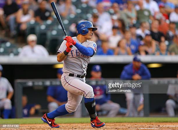 ShinSoo Choo of the Texas Rangers watches his RBI double in the second inning against the Colorado Rockies during Interleague play at Coors Field on...