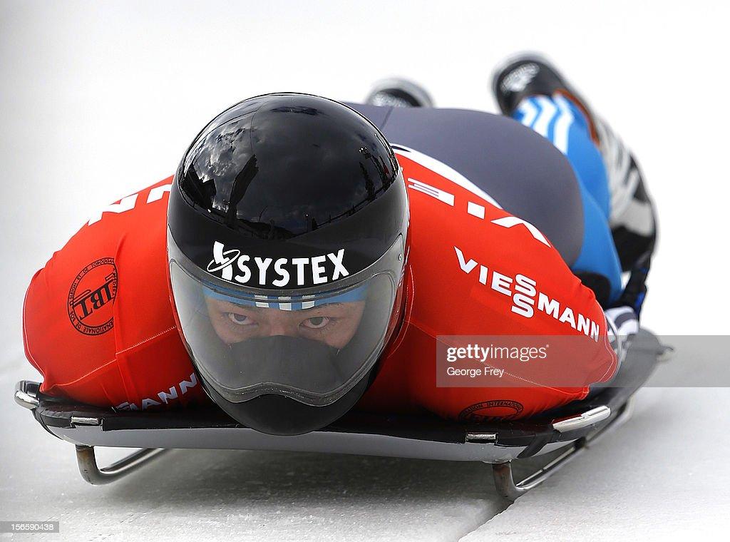 Shinsuke Tayama of Japan competes in the FIBT Men's Skeleton World Cup heat 1 on November 17, 2012 at Utah Olympic Park in Park City, Utah.