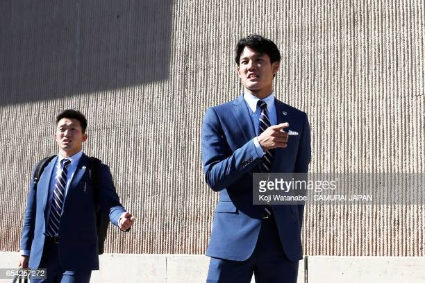 Shintaro Fujinami of Japan arrives at a hotel ahead of the World Baseball Classic Championship Round on March 16 2017 in Phoenix Arizona