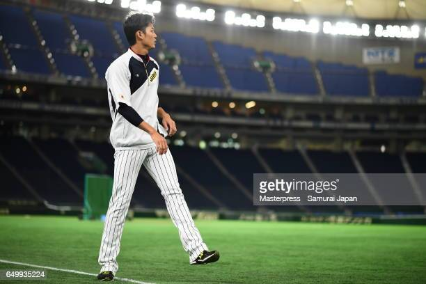 Shintaro Fujinami of Japan is seen during the practice day during the World Baseball Classic at Tokyo Dome on March 9 2017 in Tokyo Japan