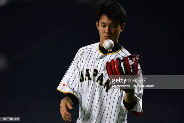 Shintaro Fujinami of Japan is seen on the practice day during the World Baseball Classic at the Tokyo Dome on March 13 2017 in Tokyo Japan