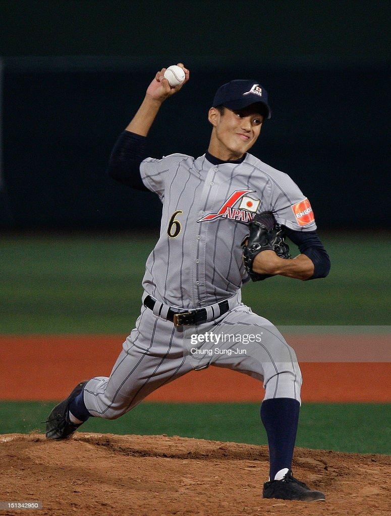 Shintaro Fujinami of Japan pitchs in the seventh inning during the 18U Baseball World Championship match between Japan and South Korea at Mokdong Stadium on September 6, 2012 in Seoul, South Korea.