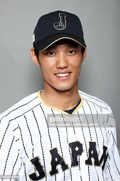 Shintaro Fujinami of Japan poses for photographs during the Japan national baseball team portrait session on November 5 2016 in Tokyo Japan