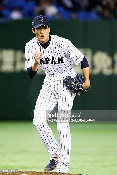 Shintaro Fujinami of Samurai Japan in action during Samurai Japan v All Euro match at the Tokyo Dome on March 10 2015 in Tokyo Japan