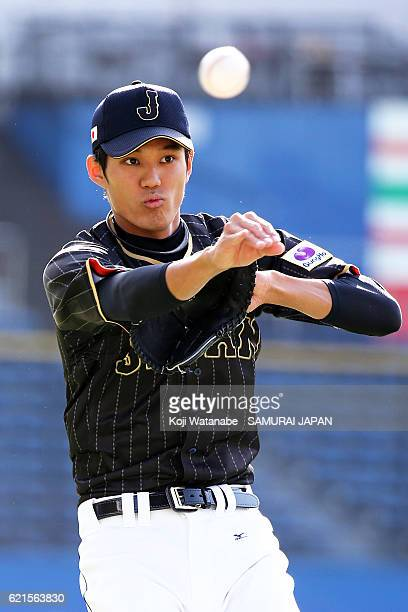 Shintaro Fujinami of Samurai Japan in action during the Japan national baseball team practice session at the QVC on November 7 2016 in Tokyo Japan