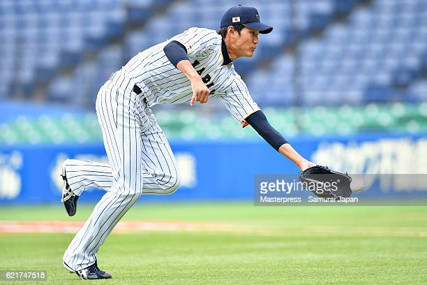 Shintaro Fujinami of SAMURAI JAPAN in action during the Japan national baseball team practice session at the QVC on November 8 2016 in Tokyo Japan