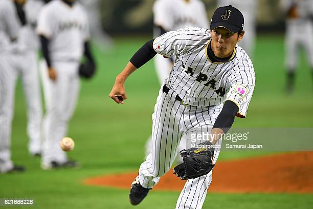 Shintaro Fujinami of SAMURAI JAPAN in action during the Japan national baseball team practice session at the Tokyo Dome on November 9 2016 in Tokyo...