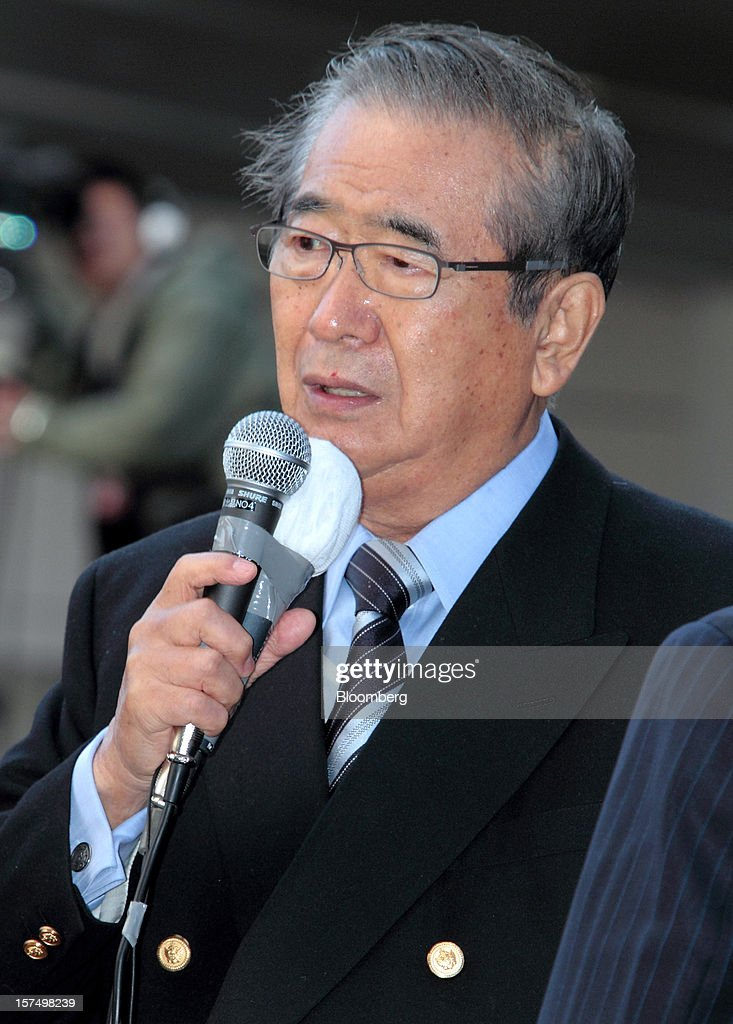 Shintaro Ishihara, former governor of Tokyo and leader of the Japan Restoration Party, speaks during a campaign rally for the Dec. 16 general elections in Osaka, Japan, on Tuesday, Dec. 4, 2012. At least 12 parties are campaigning for the 480-member lower house that is made up of 300 single constituencies and 180 proportionally apportioned seats. Photographer: Yuzuru Yoshikawa/Bloomberg via Getty Images