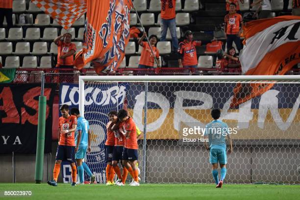 Shintaro Shimizu of Omiya Ardija celebrates scoring his side's second goal during the 97th Emperor's Cup Round of 16 match between Tsukuba University...