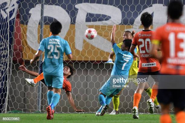 Shintaro Shimizu of Omiya Ardija scores his side's second goal during the 97th Emperor's Cup Round of 16 match between Tsukuba University and Omiya...