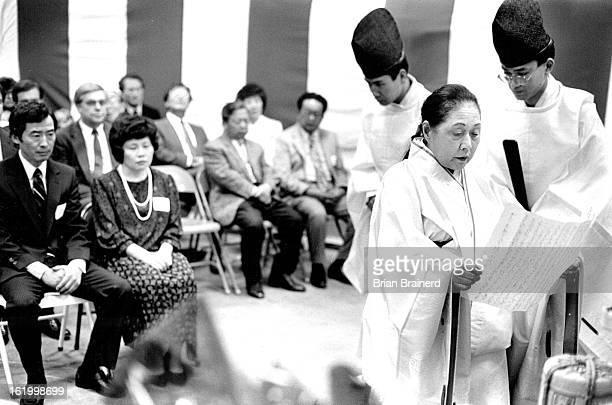 APR 24 1988 Shinto Priestess Mikasa and assistants Tanenari Endo and Nobutsugu Endo all of Tokyo perfrom a K Raku Sei Shiki for the Denver Tofu...