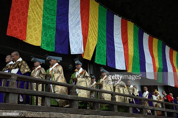 Shinto priests take part in a ceremony at the Chionji temple on April 23 2016 in Kyoto Japan This triannual ceremony which is split into three parts...