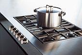 Shiny clean saucepan on hob.
