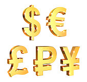Currency Symbols Set on a white background with lens flare effect - 3d rendering