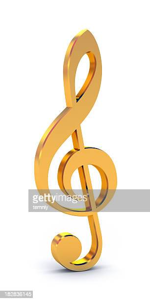 Shiny, golden treble clef free-standing symbol on white