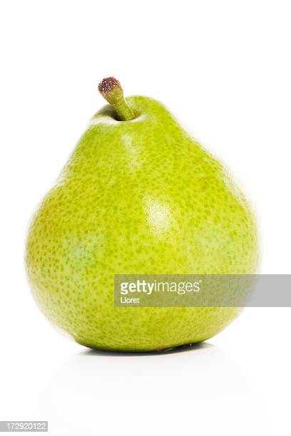 A shiny green pear with perfect smooth skin