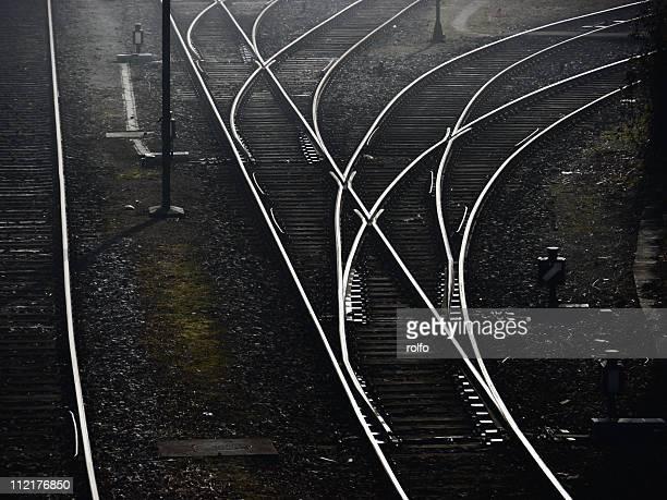 Shiny railroad tracks rails line