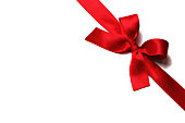 Shiny red satin ribbon with bow on white background