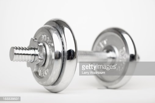 A shiny silver dumbbell