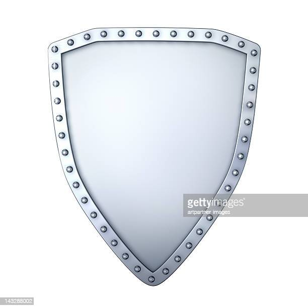A shiny silver riot shield on white