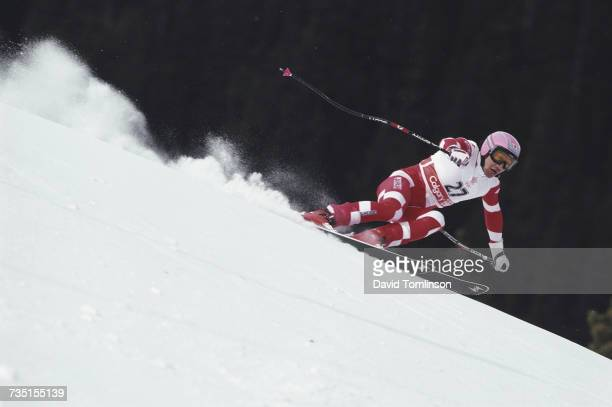 Shinya Chiba of Japan skiing in the Men's Super Giant Slalom event on 21 February 1988 during the XV Olympic Winter Games in Nakiska Calgary Alberta...