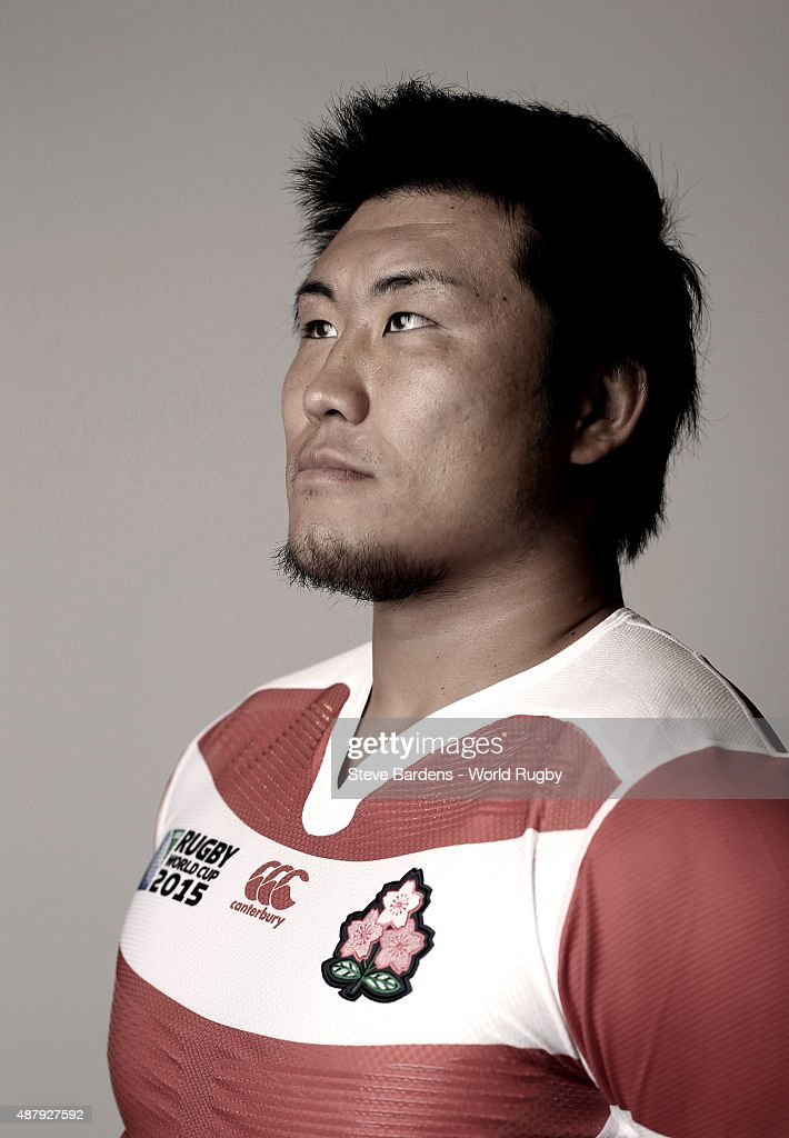 Shinya Makabe of Japan poses for a portrait during the Japan Rugby World Cup 2015 squad photo call in Brighton on September 12, 2015. Photo by Steve Bardens - World Rugby/World Rugby via Getty Images)