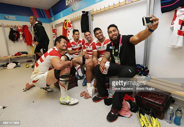 Shinya Makabe Yu Tamura Karne Hesketh Amanaki Mafi and Ryu Koliniasi Holani of Japan take a selfie whilst celebrating their surprise victory in the...