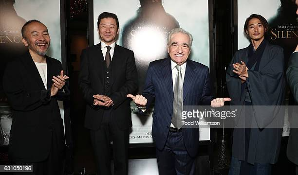 Shinya Tsukamoto Tadanobu Asano Martin Scorsese and Yosuke Kubozuka attend the premiere of Paramount Pictures' 'Silence' at the Directors Guild Of...