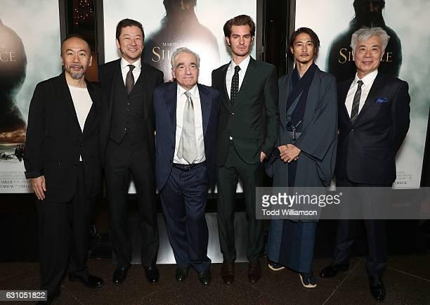 Shinya Tsukamoto Tadanobu Asano Martin Scorsese Andrew Garfield Yosuke Kubozuka and Issey Ogata attend the premiere of Paramount Pictures' 'Silence'...