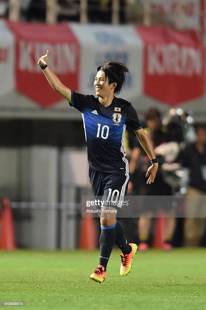 <a gi-track='captionPersonalityLinkClicked' href=/galleries/search?phrase=Shinya+Yajima&family=editorial&specificpeople=9048585 ng-click='$event.stopPropagation()'>Shinya Yajima</a> of Japan celebrates scoring his team's second goal during the U-23 international friendly match between Japan and South Africa at the Matsumotodaira Football Stadium on June 29, 2016 in Matsumoto, Nagano, Japan.