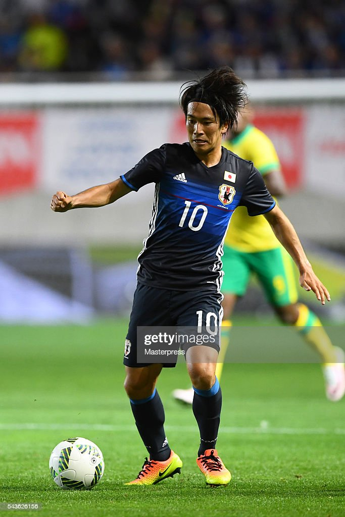 Shinya Yajima of Japan in action during the U-23 international friendly match between Japan v South Africa at the Matsumotodaira Football Stadium on June 29, 2016 in Matsumoto, Nagano, Japan.