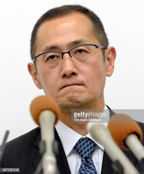 Shinya Yamanaka director of Kyoto University's Center for iPS Cell Research and Application talks to reporters at a news conference on April 28 2014...