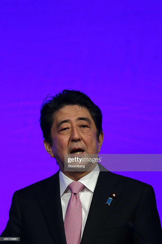 <a gi-track='captionPersonalityLinkClicked' href=/galleries/search?phrase=Shinzo+Abe&family=editorial&specificpeople=559017 ng-click='$event.stopPropagation()'>Shinzo Abe</a>, Japan's prime minister and president of the Liberal Democratic Party (LDP), speaks during the Liberal Democratic Party's (LDP) annual convention in Tokyo, Japan, on Sunday, Jan. 19, 2014. Abe will raise the consumption tax in April to 8 percent from 5 percent to help contain the nations swelling public debt. Photographer: Kiyoshi Ota/Bloomberg via Getty Images