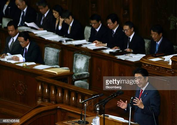 Shinzo Abe Japan's prime minister bottom right delivers his policy speech at the lower house of parliament in Tokyo Japan on Thursday Feb 12 2015 Abe...