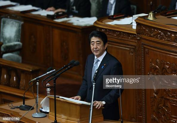 Shinzo Abe Japan's prime minister delivers a policy speech during an extraordinary session at the lower houses of the parliament in Tokyo Japan on...
