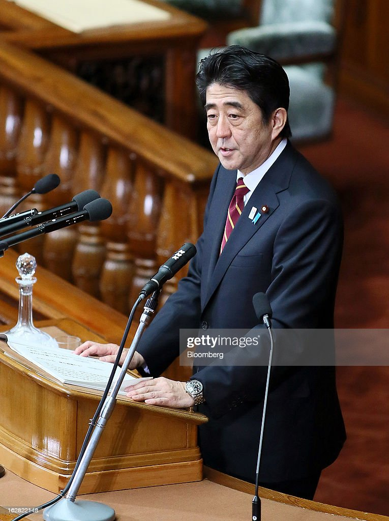 Shinzo Abe, Japan's prime minister, delivers his policy speech at the lower house of Parliament in Tokyo, Japan, on Thursday, Feb. 28, 2013. Abe nominated Asian Development Bank President Haruhiko Kuroda to lead the nation's central bank, raising the likelihood of further monetary stimulus this year. Photographer: Haruyoshi Yamaguchi/Bloomberg via Getty Images