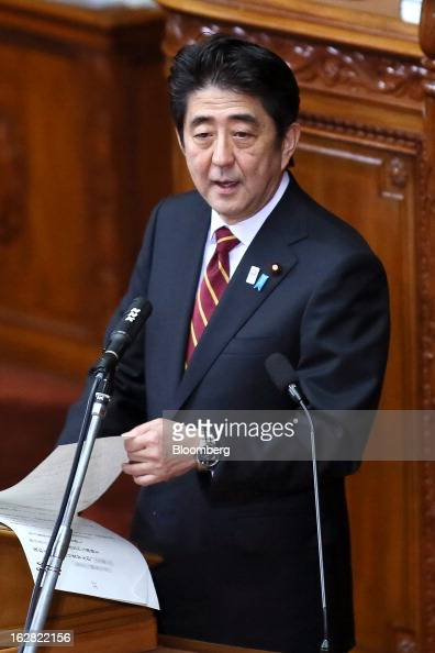 Shinzo Abe Japan's prime minister delivers his policy speech at the lower house of Parliament in Tokyo Japan on Thursday Feb 28 2013 Abe nominated...