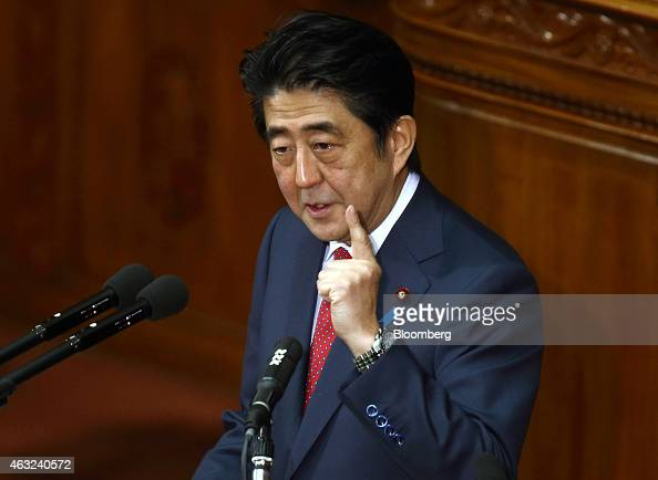 Shinzo Abe Japan's prime minister delivers his policy speech at the lower house of parliament in Tokyo Japan on Thursday Feb 12 2015 Abe said he will...