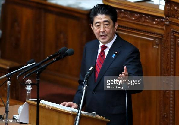 Shinzo Abe Japan's prime minister delivers his policy speech during a session in the lower house of Parliament in Tokyo Japan on Friday Jan 24 2014...
