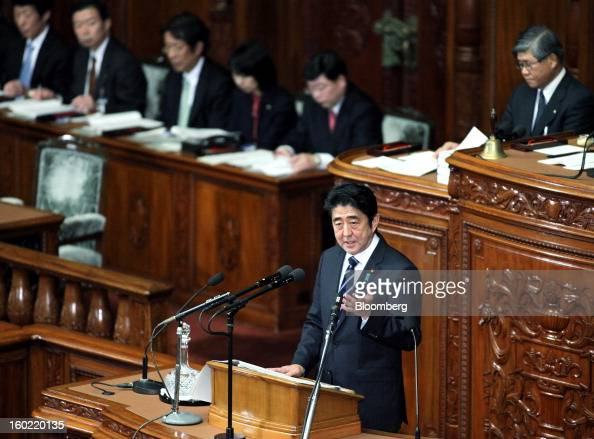 Shinzo Abe Japan's prime minister delivers his policy speech during the opening session of the Diet at the lower house of parliament in Tokyo Japan...