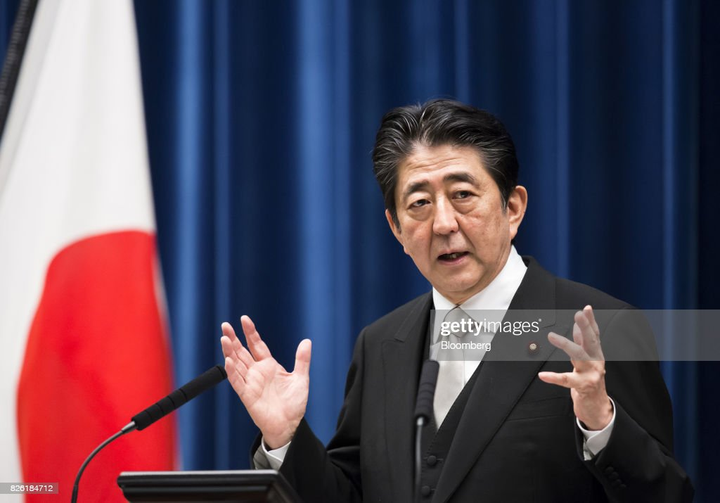 Japanese Prime Minister Shinzo Abe Appoints New Cabinet Members in Reshuffle : News Photo